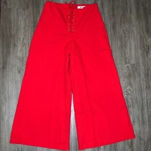Do + Be Lace-up Wide Leg Pants in Red Size Medium
